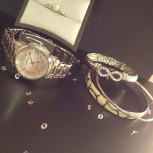 Watch/SS 925 pearl& diamond Ring/3 bracelet SET